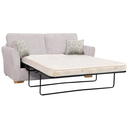 Jasmine 3 Seater Sofa Bed with Deluxe Mattress in Cosmo Silver with Bamboo Slate Scatters