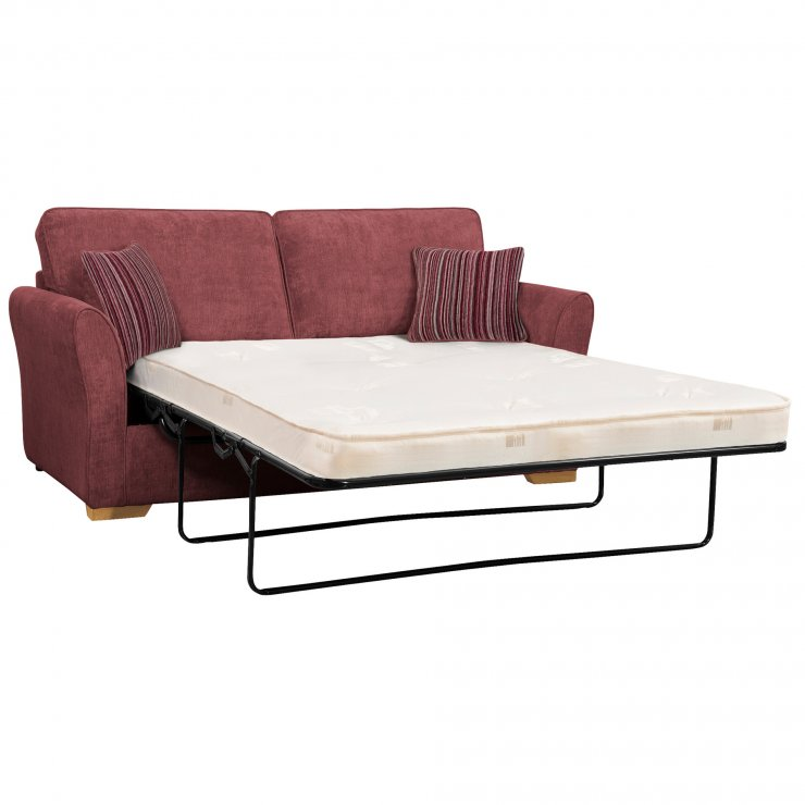 Jasmine 3 Seater Sofa Bed with Deluxe Mattress in Plum with Raspberry Scatters