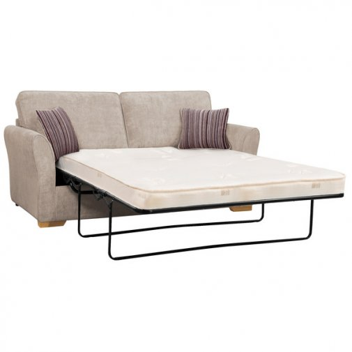 Jasmine 3 Seater Sofa Bed with Deluxe Mattress in Silver with Salsa Taupe Scatters