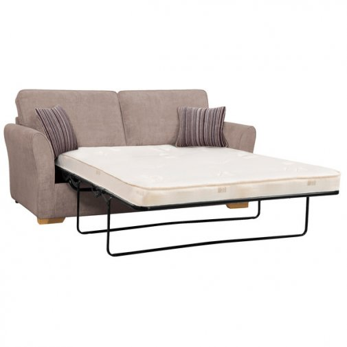 Jasmine 3 Seater Sofa Bed with Deluxe Mattress in Taupe with Salsa Taupe Scatters