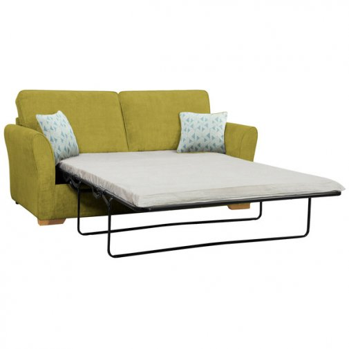 Jasmine 3 Seater Sofa Bed with Standard Mattress in Cosmo Apple with Bamboo Aqua Scatters