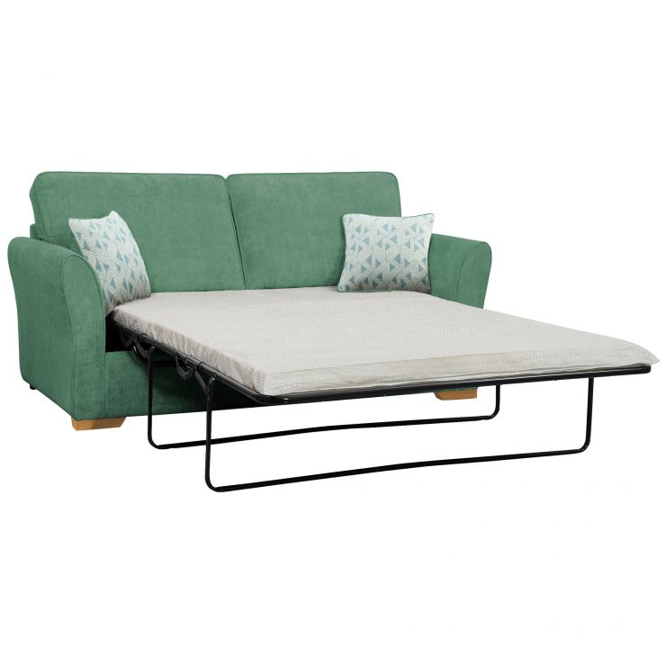 Jasmine 3 Seater Sofa Bed with Standard Mattress in Cosmo Jade with Bamboo Aqua Scatters