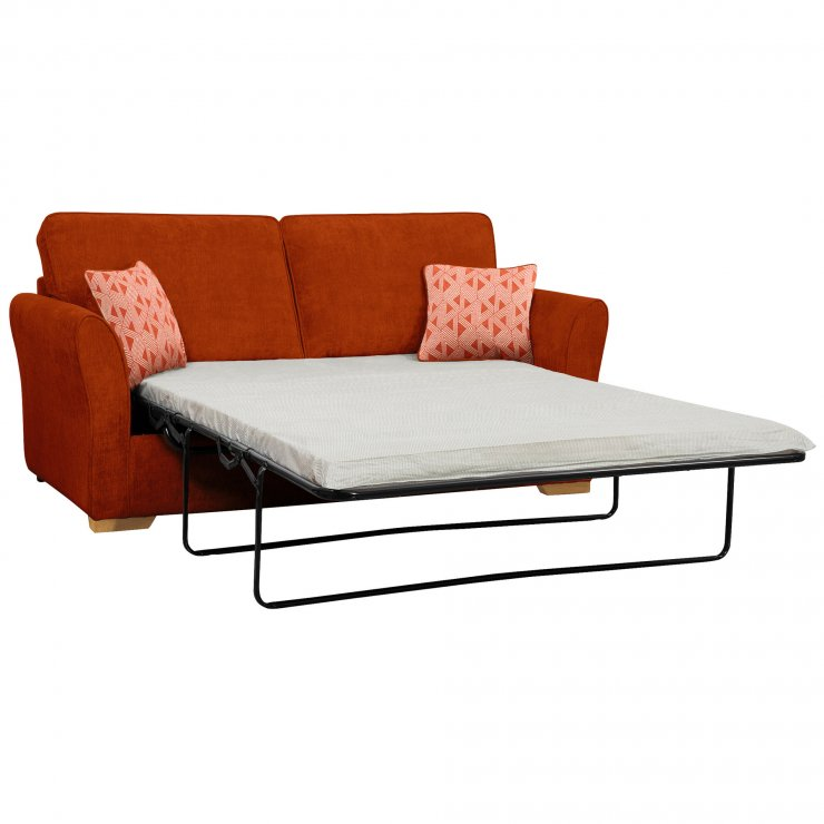 Jasmine 3 Seater Sofa Bed with Standard Mattress in Cosmo Spice with Bamboo Spice Scatters