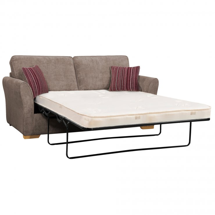 Jasmine 3 Seater Sofa Bed with Standard Mattress in Grey with Salsa Raspberry Scatters