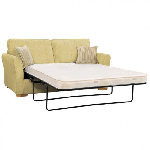 Jasmine 3 Seater Sofa Bed with Standard Mattress in Lime with Salsa Summer Scatters