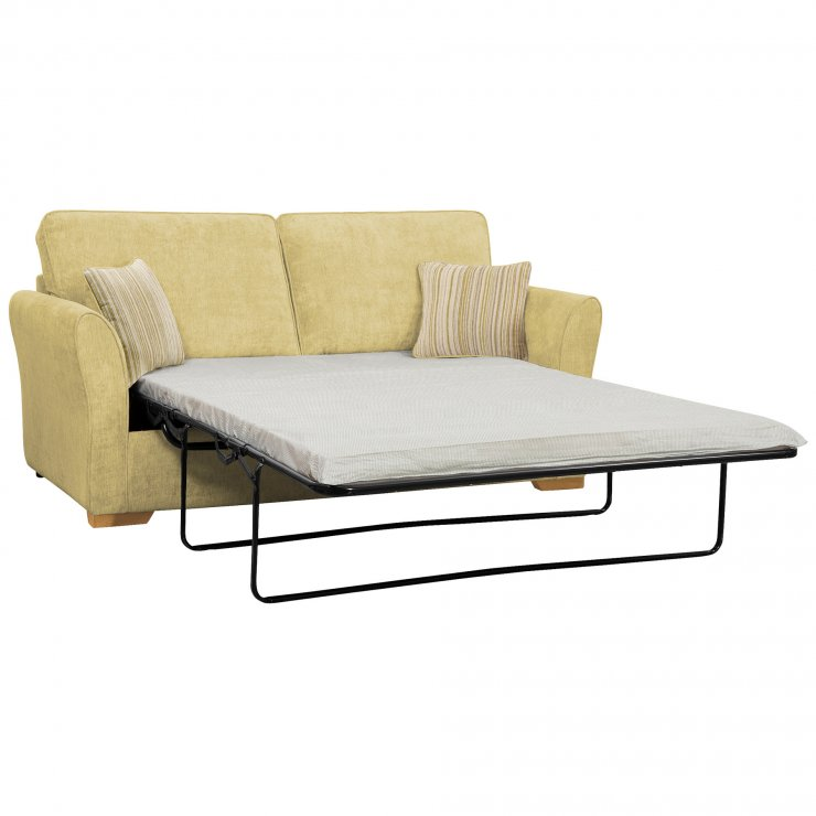 Jasmine 3 Seater Sofa Bed with Standard Mattress in Lime with Salsa Summer Scatters - Image 2