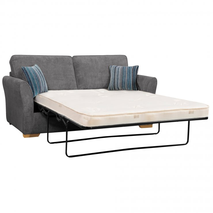 Jasmine 3 Seater Sofa Bed with Standard Mattress in Pewter with Salsa Ocean Scatters
