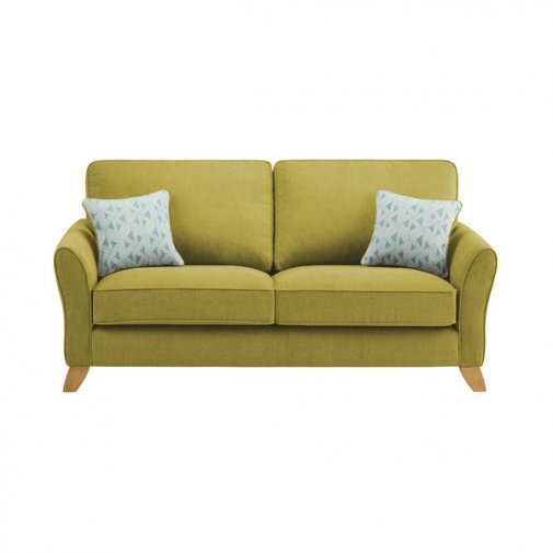 Jasmine 3 Seater Sofa in Cosmo Fabric - Apple with Bamboo Aqua Scatters