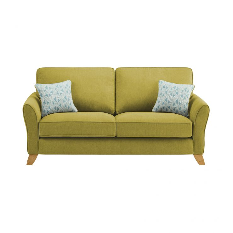 Jasmine 3 Seater Sofa in Cosmo Fabric - Apple with Bamboo Aqua Scatters - Image 1