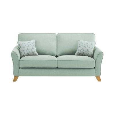 Jasmine 3 Seater Sofa in Cosmo Fabric - Duck Egg with Bamboo Aqua Scatters