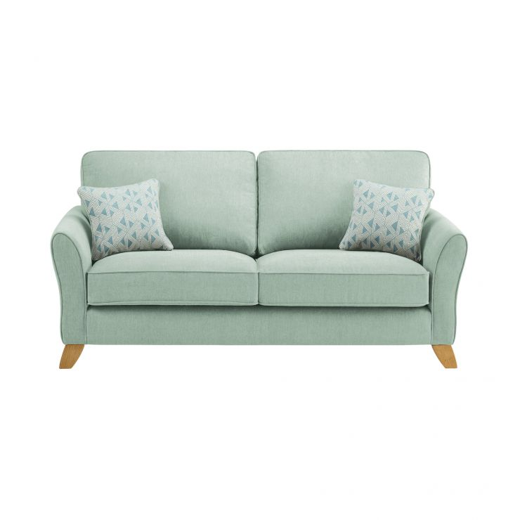 Jasmine 3 Seater Sofa in Cosmo Fabric - Duck Egg with Bamboo Duck Egg Scatters