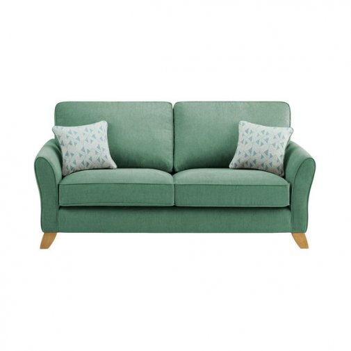 Jasmine 3 Seater Sofa in Cosmo Fabric - Jade with Bamboo Aqua Scatters
