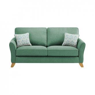 Jasmine 3 Seater Sofa in Cosmo Fabric - Jade with Bamboo Aqua Scatters