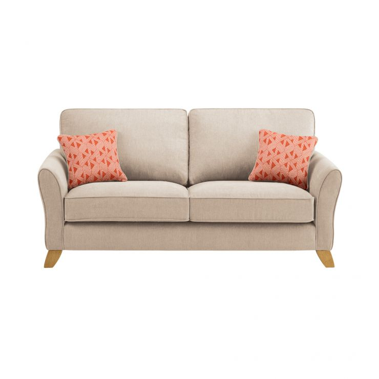 Jasmine 3 Seater Sofa in Cosmo Fabric - Linen with Bamboo Spice Scatters