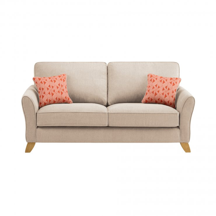 Jasmine 3 Seater Sofa in Cosmo Fabric - Linen with Bamboo Spice Scatters - Image 2