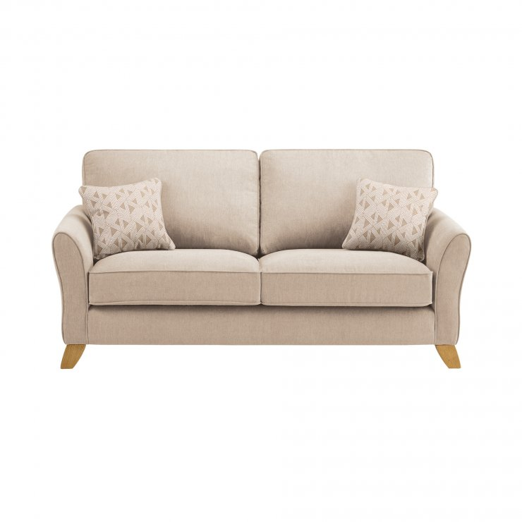 Jasmine 3 Seater Sofa in Cosmo Fabric - Linen with Bamboo Taupe Scatters