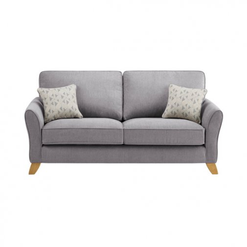 Jasmine 3 Seater Sofa in Cosmo Fabric - Pewter with Bamboo Slate Scatters