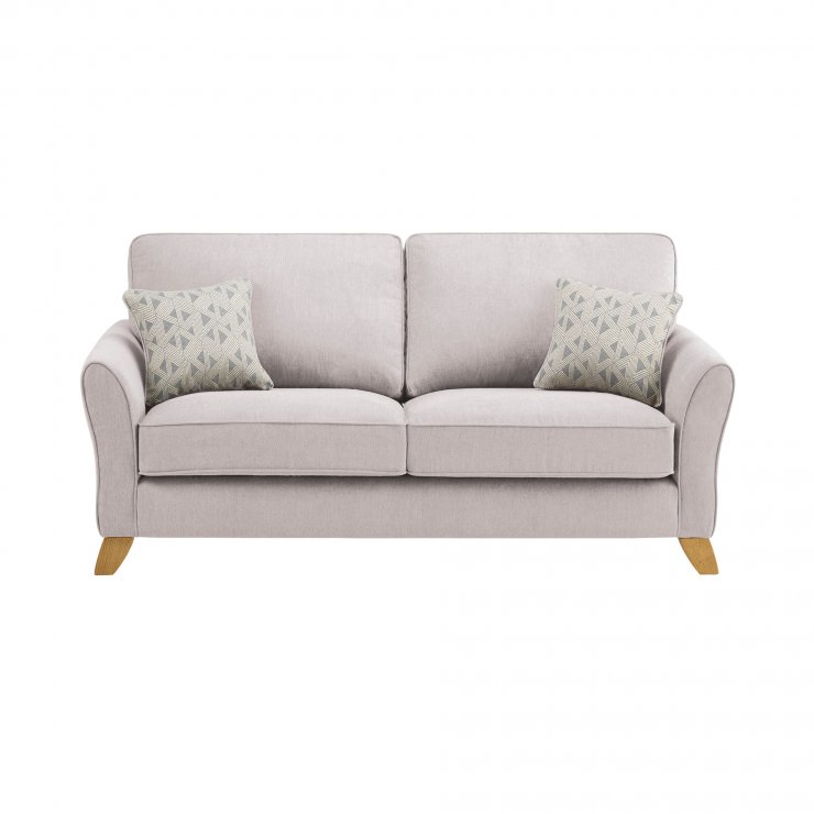 Jasmine 3 Seater Sofa in Cosmo Fabric - Silver with Bamboo Slate Scatters - Image 2