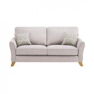 Jasmine 3 Seater Sofa in Cosmo Fabric - Silver with Bamboo Slate Scatters
