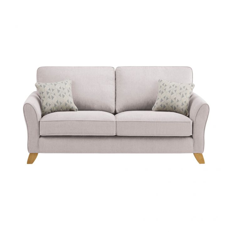 Jasmine 3 Seater Sofa in Cosmo Fabric - Silver with Bamboo Slate Scatters - Image 1