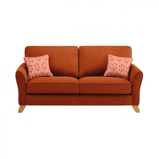 Jasmine 3 Seater Sofa in Cosmo Fabric - Spice with Bamboo Spice Scatters