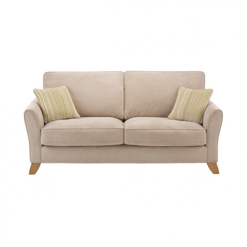Jasmine 3 Seater Sofa  in Grace Fabric - Linen with Summer Scatters