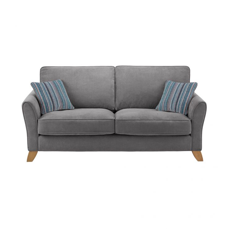 Jasmine 3 Seater Sofa in Grace Fabric - Pewter with Ocean Scatters