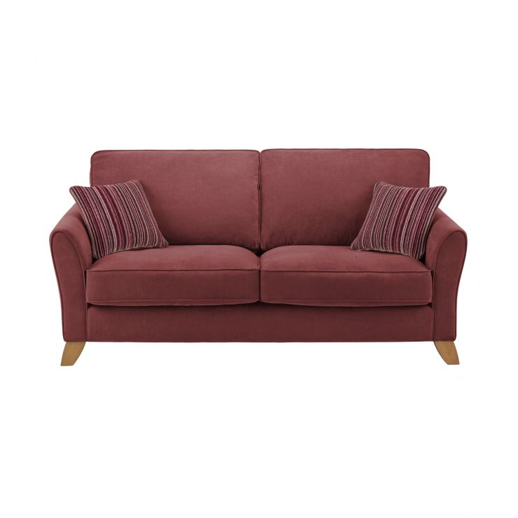 Jasmine 3 Seater Sofa in Grace Fabric - Plum with Raspberry Scatters