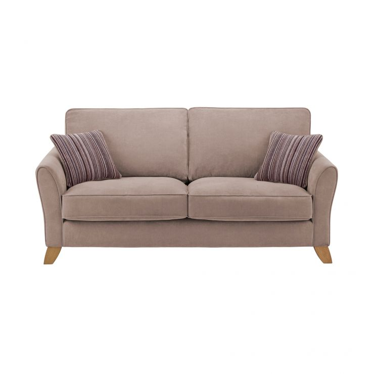 Jasmine 3 Seater Sofa in Grace Fabric - Taupe with Taupe Scatters