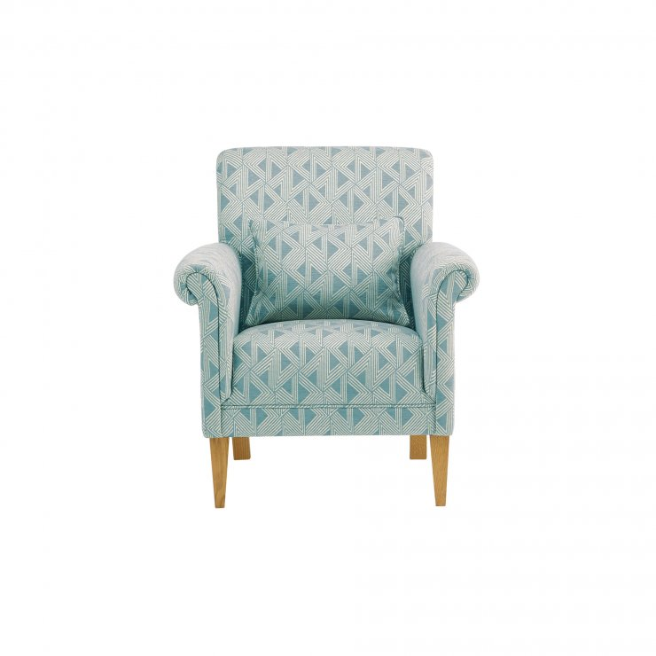 Jasmine Accent Chair in Duck Egg with Bamboo Aqua Fabric - Image 1
