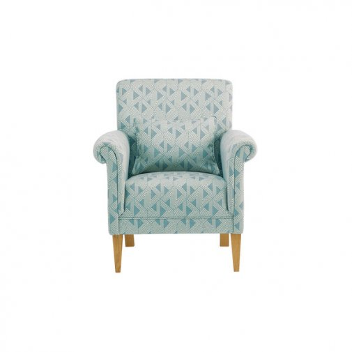 Jasmine Accent Chair in Jade with Bamboo Aqua Fabric