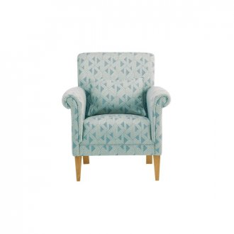 Jasmine Accent Chair in Bamboo Aqua Fabric