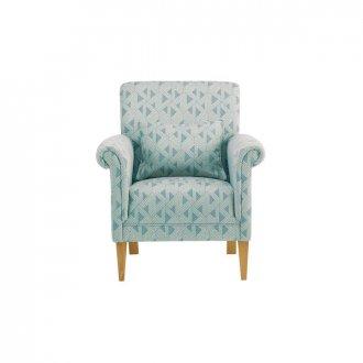 Jasmine Accent Chair in Bamboo Aqua Fabric