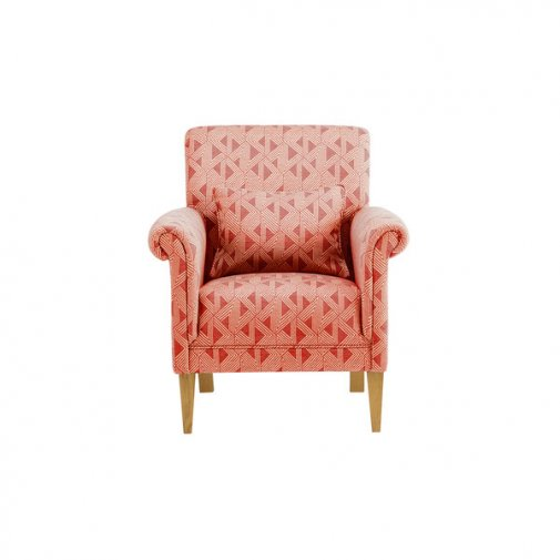 Jasmine Accent Chair in Linen and Bamboo Spice Fabric