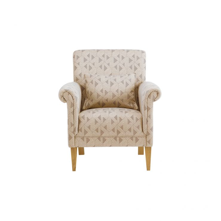 Jasmine Accent Chair in Bamboo Taupe Fabric with Bamboo Taupe Fabric Scatter Cushion