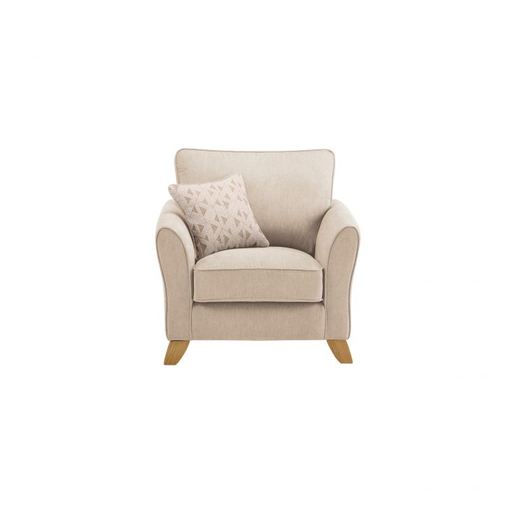 Jasmine Armchair in Cosmo Fabric - Linen with Bamboo Taupe Scatters