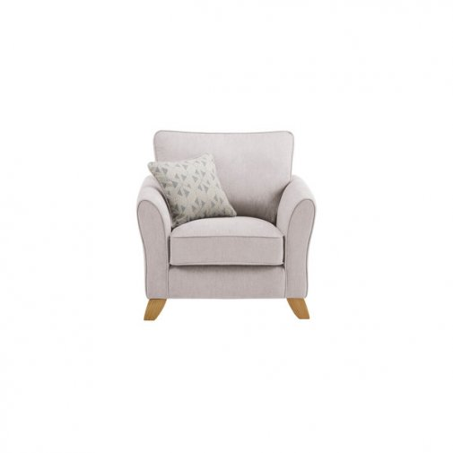 Jasmine Armchair in Cosmo Fabric - Silver with Bamboo Slate Scatters