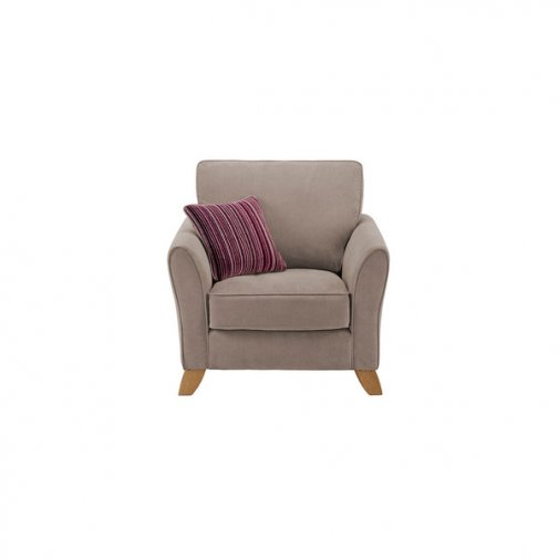 Jasmine Armchair in Grace Fabric - Grey with Raspberry Scatter
