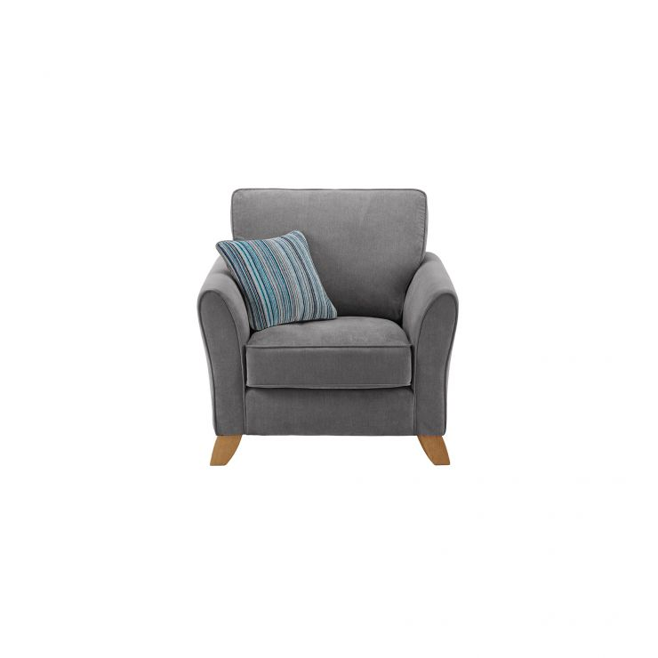Jasmine Armchair in Grace Fabric - Pewter with Ocean Scatter