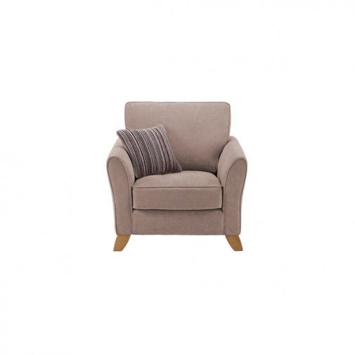 Jasmine Armchair in Grace Fabric - Taupe with Taupe Scatter