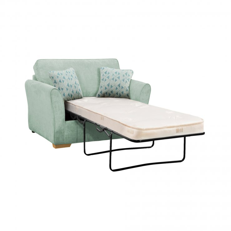 Jasmine Armchair Sofa Bed with Deluxe Mattress in Cosmo Duck Egg with Bamboo Aqua Scatters