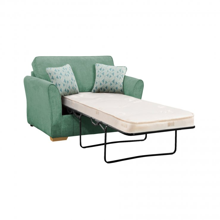 Jasmine Armchair Sofa Bed with Deluxe Mattress in Cosmo Jade with Bamboo Aqua Scatters - Image 1