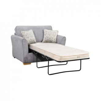 Jasmine Armchair Sofa Bed with Deluxe Mattress in Cosmo Pewter with Bamboo Slate Scatters