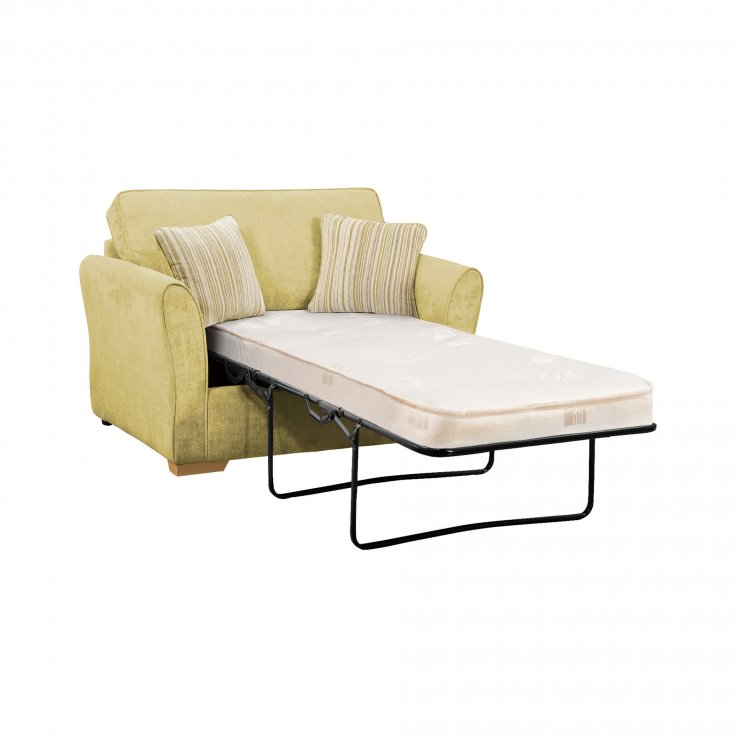 Jasmine Armchair Sofa Bed with Deluxe Mattress in Lime with Salsa Summer Scatters