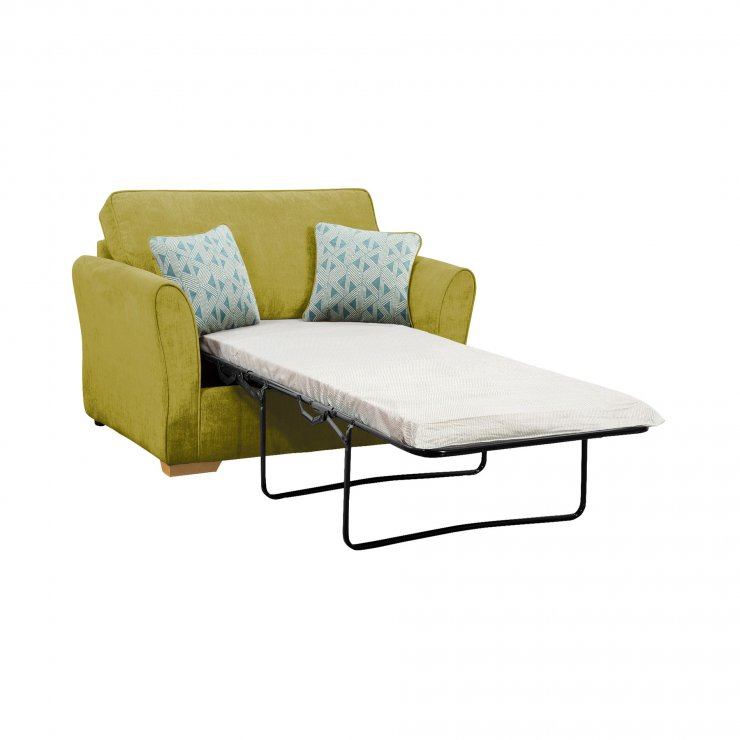 Jasmine Armchair Sofa Bed with Standard Mattress in Cosmo Apple with Bamboo Aqua Scatters - Image 1