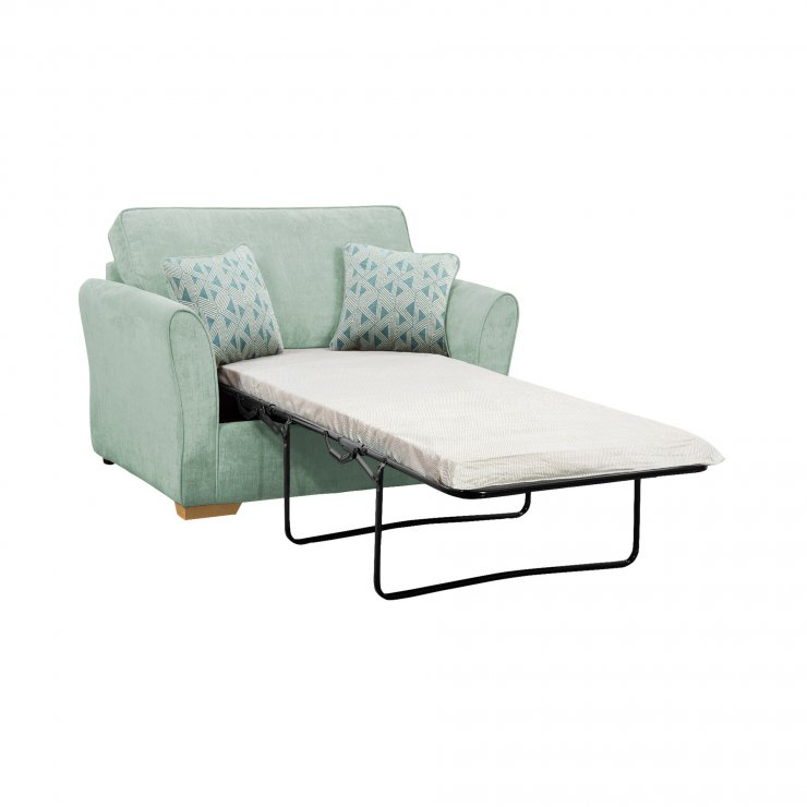 Jasmine Armchair Sofa Bed with Standard Mattress in Cosmo Duck Egg with Bamboo Aqua Scatters