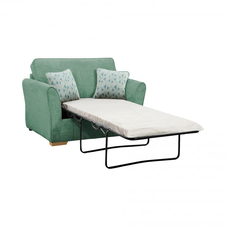 Jasmine Armchair Sofa Bed with Standard Mattress in Cosmo Jade with Bamboo Aqua Scatters