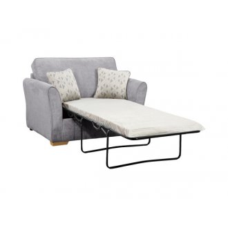 Jasmine Armchair Sofa Bed with Standard Mattress in Cosmo Pewter with Bamboo Slate Scatters