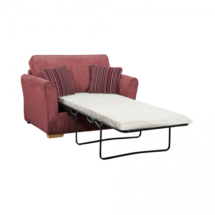 Jasmine Armchair Sofa Bed with Standard Mattress in Plum with Raspberry Scatters - Image 2