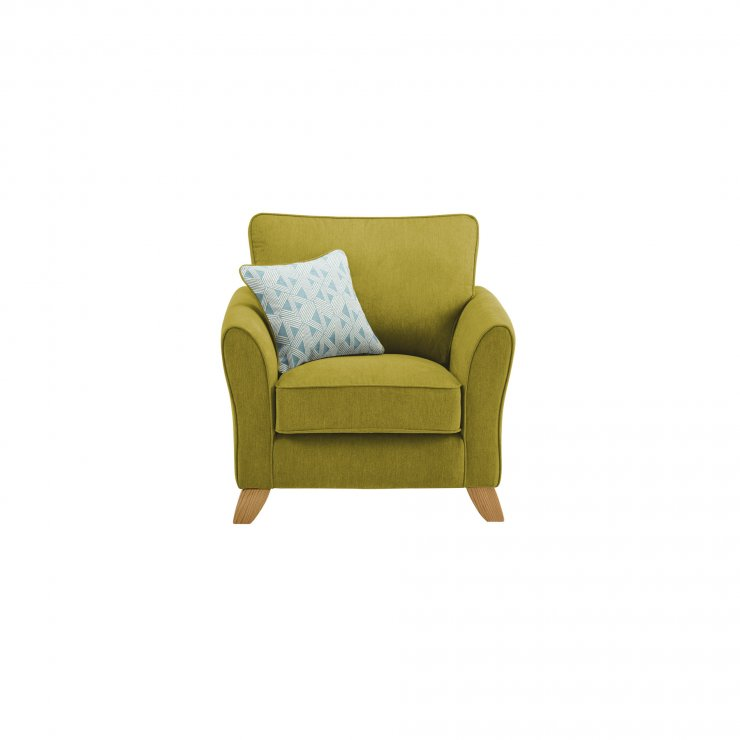 Jasmine Armchair in Cosmo Fabric - Apple with Bamboo Aqua Scatters - Image 1